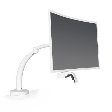 Ella monitor arm in white with a 32-inch curved display