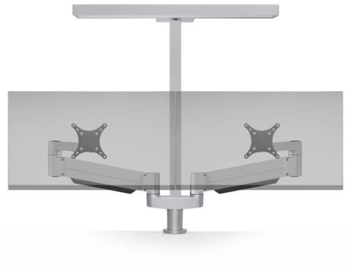 Dual dynamic 7000 monitor arms in silver with a task / ambient light.