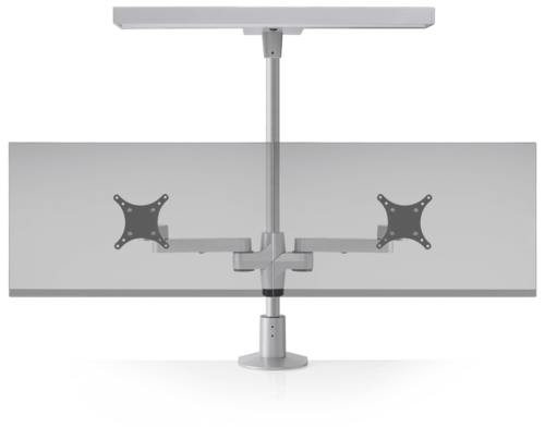 Dual static monitor arms in silver with a task / ambient light.