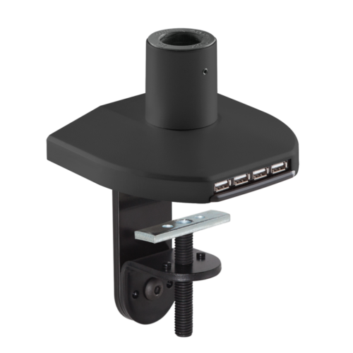 Mount with integrated USB hub in a black finish