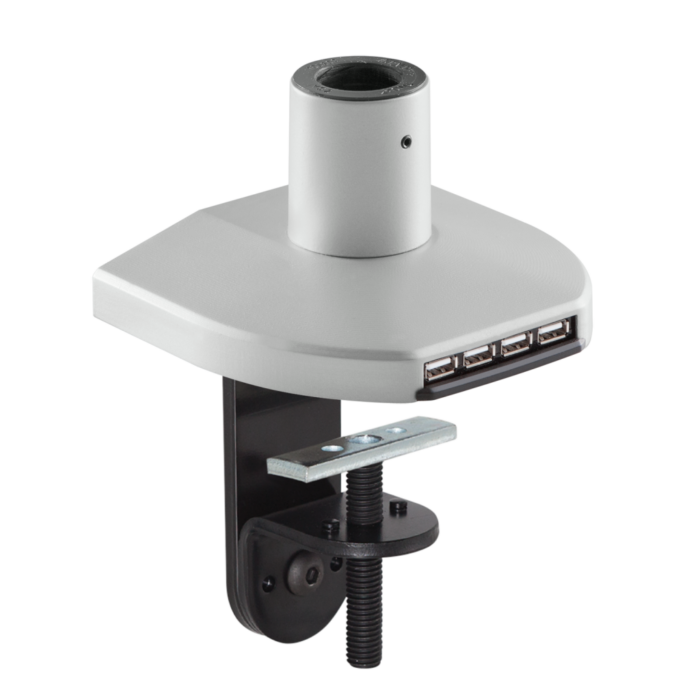 Mount with integrated USB hub in a silver finish