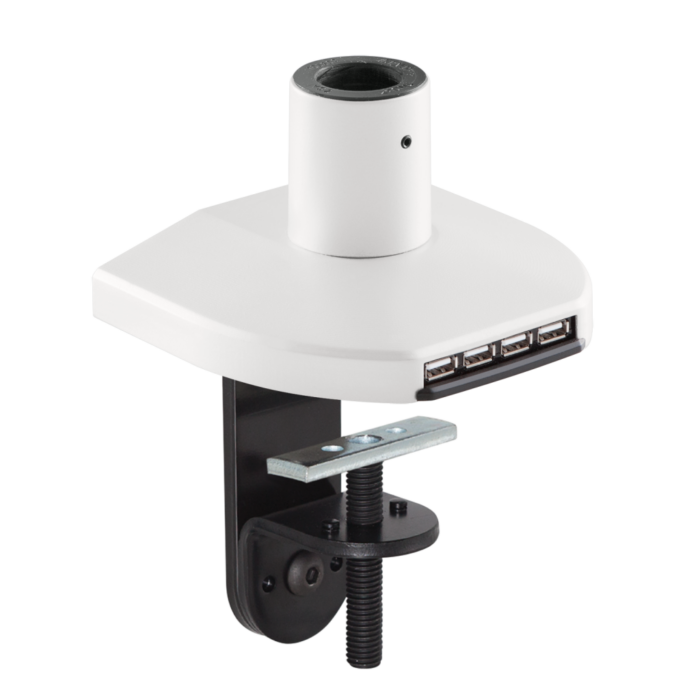 Mount with integrated USB hub in a white finish